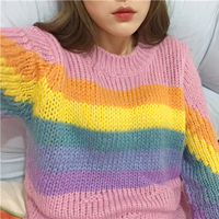 women Autumn and winter College wind Casual all match cute Rainbow colors long sleeved Round Neck pullover loose sweater girls
