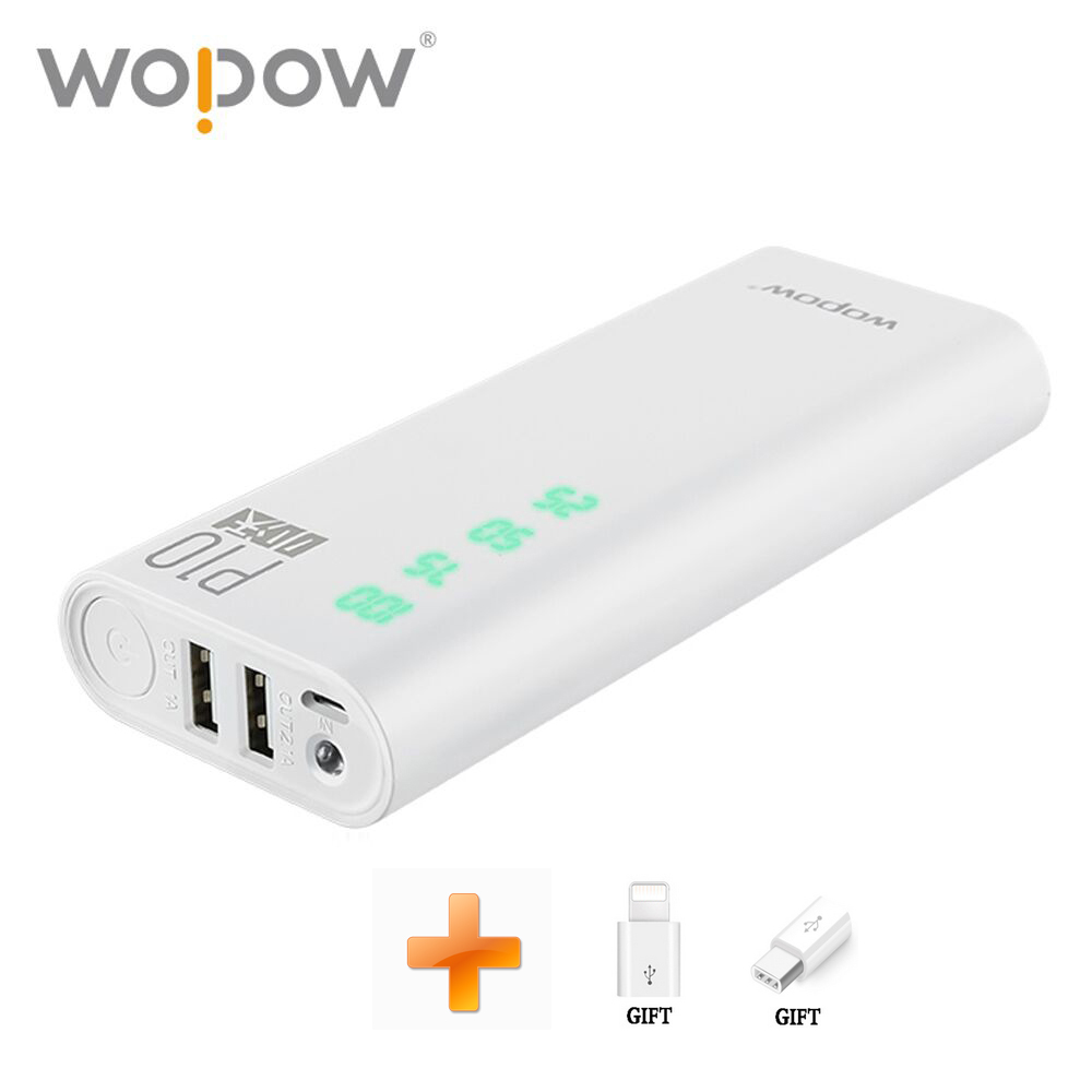 Wopow Power bank 10000mAh Dual USB External Mobile Battery Charger 18650 Power Bank Shake show power