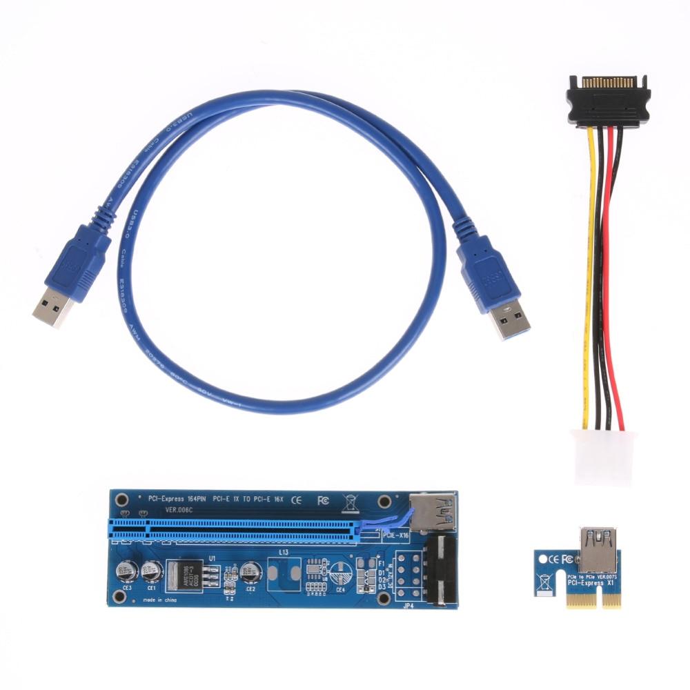 60 см Pci-e PCI Express Riser Card 1X к 16X USB 3.0 удлинитель графический адаптер SATA 15Pin к 4Pin кабель питания для БТД горной