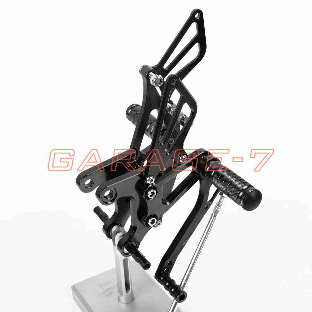 A New Black CNC Rearsets Foot Rests Rear Set For KAWASAKI 2005-2008 2006 2007 ZX6R Hayabusa  Motorcycle Foot Pegs 6061 Aluminum