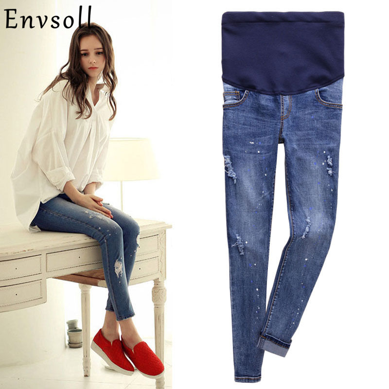 Envsoll Maternity Jeans for Pregnant Women Jeans With High Elastic Waist Plus Size Skinny Pencil Pants Pregnant Jeans dark blue middle waist skinny shredded ripped jeans with four pockets