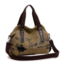 Casual Canvas Tote Bag Travel Bag Type Vintage Doodle Female Messenger Bag Made In China For Ladies