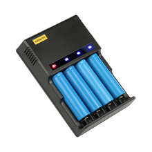 цена на 4 Slots LED light lithium NIMH NICD Battery Charger For 18650 18350 16340 14500 Li-ion AA AAA Ni-CD Ni-MH Rechargeable Battery