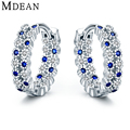 Mdean 3.41Gram Genuine 925 Sterling Silver Sapphire Jewelry CZ Diamond Hoop Earrings for Women Sterling-Silver-Jewelry MSE341