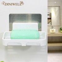 DINIWELL Durable Home Storage Holder Square Bathroom Sucker soap Racks For Bathroom Kitchen Travel Cosmetic Soap Bath Organizer