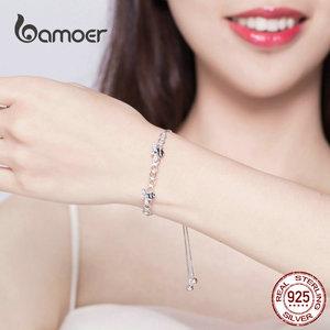 Image 4 - Bamoer abeille en nid dabeille Bracelet pour femmes 925 argent Sterling vente chaude reine des abeilles boîte chaîne Bracelets bijoux de mode SCB150