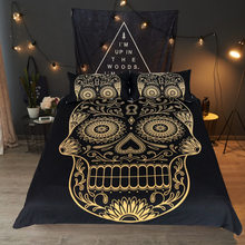 Mandala Golden skull Duvet Cover With Pillowcase Bedding Set Queen Size Feather Boho Quilt Cover Bed best gift bedline set 3d(China)