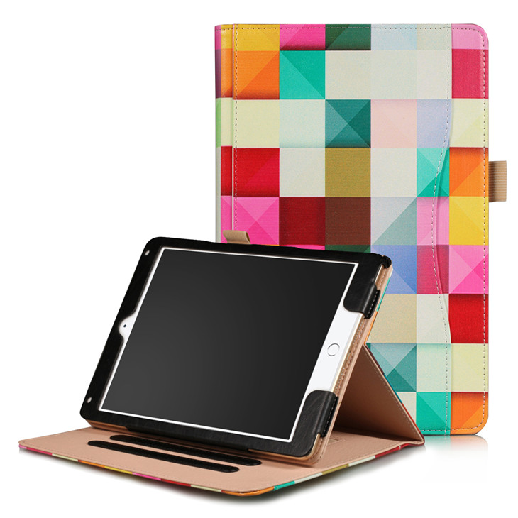 Square Wallet case with hand loop, stand and leather style for iPad 9.7 (2017, 2018, A1893), Air 1,2