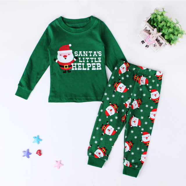 New Santa Claus Kids Pajama Sets Tops+Pants Children Sleepwear Boys Girls  Nightwear Family Christmas 66edddddb