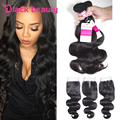 Amazing Hair Company 7A Brazilian Body Wave With Closure Bundles With Lace Closures RuiJia Brazilian Virgin Hair With Closure