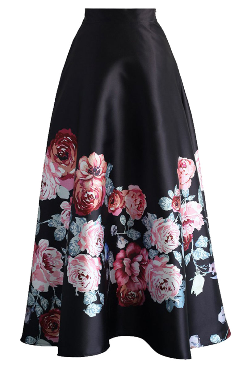 Blossoming-Black-High-Waist-Maxi-Skirt-LC65017-3-2