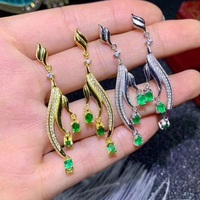 Qi Xuan_Luxury S925 Silver Inlaid Columbia Green Stone Earrings Precious Green Stone Women's Jewelry Factory Direct Sales