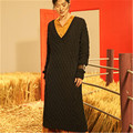 top grade 100% hand made pure wool low Vneck knit women fashion solid long H-straight pullover sweater one&over size
