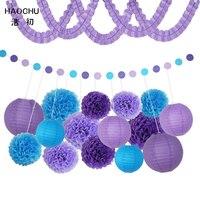 HAOCHU Lila & Blue Seidenpapier Clover Papiergirlande Wabenbälle Für Kinder Geburtstag Hochzeit Party Decor Baby-dusche Liefert