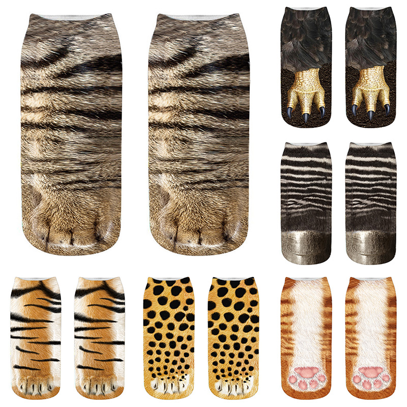 3D Animals Paw Print Socks Unisex Crew Short Stocks Soft Casual Cute Cotton Socks Children Dog Zebra Pig Cat Paw Funny Socks 5Z