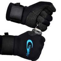 Guantes de buceo Kevlar de 3MM para caza subacuática equipo de pesca de Punta antideslizante guantes negros ajustables YQ33