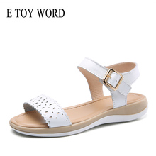 E TOY WORD Women sandals 2019 summer genuine leather flat sandals Soft comfortable Ladies Casual Summer Shoes Women 2018 new summer sandals women pu leather flat with mixed colors creepers soft skin sandals comfortable mather shoes