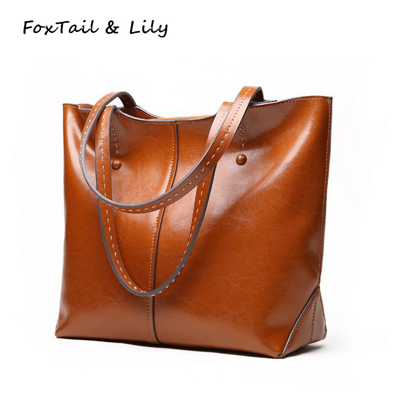 FoxTail & Lily Women Genuine Soft Leather Bags Designer Large Tote Shoulder Bag Lady Luxury Fashion Brand Handbags High Quality 2018 soft genuine leather bags handbags women famous brands platband large designer handbags high quality brown office tote bag