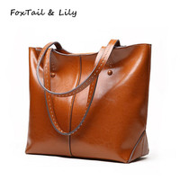 FoxTail Lily Women Genuine Soft Leather Bags Designer Large Tote Shoulder Bag Lady Luxury Fashion Brand