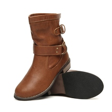 Women's Motorcycle Boots Genuine Leather Spring Autumn 2016 Casual Shoes For Woman Military Botas Vintage High Top BUCKLE