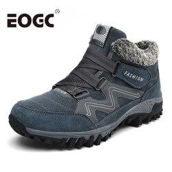 Sapatos de inverno de moda botas de neve super quentes botas de pelúcia dentro do fundo manter quentes botas de inverno masculino botas hombre tamanho grande 46