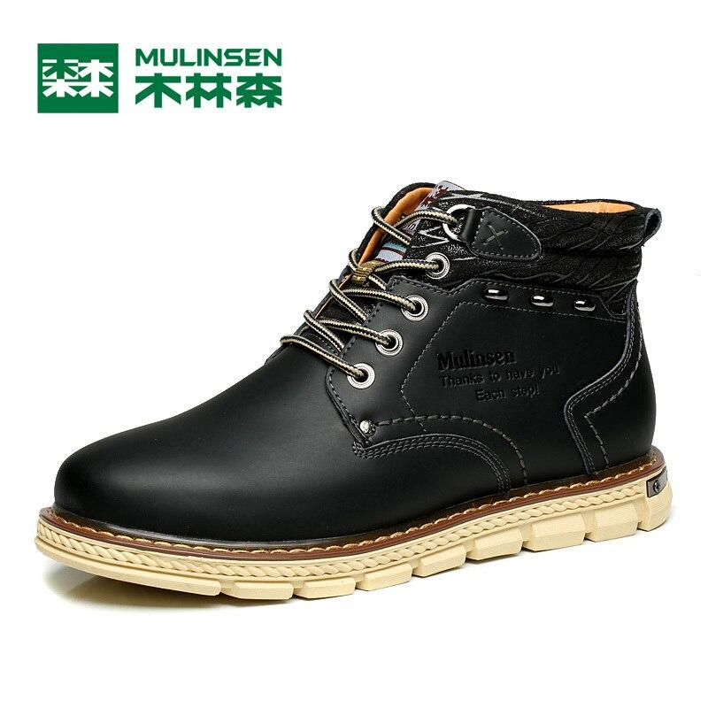 ФОТО Mulinsen Autumn&Winter Men's Sports Hiking Shoes black/Blue/khaki Sport Shoes Leather Wear Non-slip Outdoor Sneaker 260079