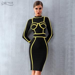 Image 2 - Женское короткое вечернее платье ADYCE, черное облегающее платье гольф с длинным рукавом в стиле звезд, для клуба, для зима, 2019