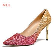 Big Size 43 Women Wedding Shoes Pumps High Heels Escarpins Femme 2018 Ladies Shoes Sexy Summer Women Pumps Wedding Bridal Shoes недорого