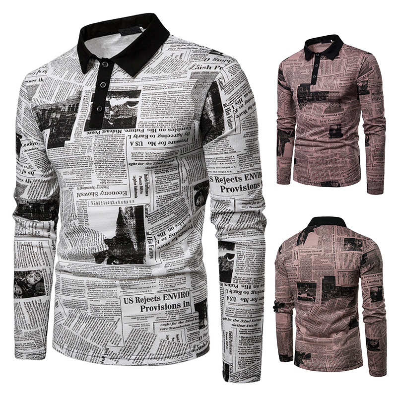 ZY New   Polo   Shirt Men Casual Business Newspaper Print Long Sleeve Men Cloth Slim Fit Brand   Polo   Homme De Marque Haute Qualite