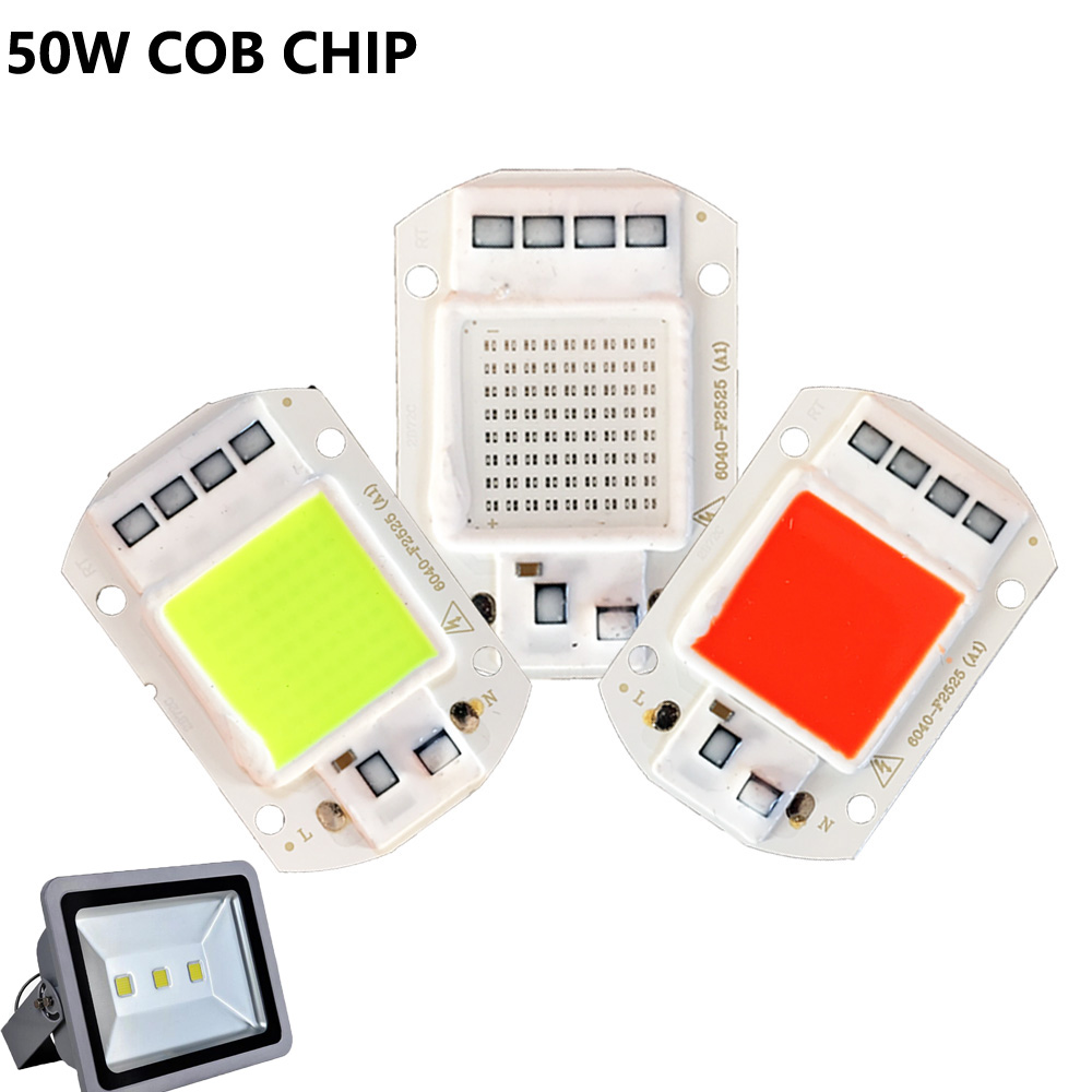 Smart IC LED Matrix Cob Lamp 50W 30W 20W  AC 220V Blue Red Green Yellow Light For Led Flood light Outdoor Light Decoration 50w 25 led red