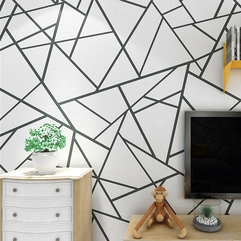 Modern Simple 3D Abstract Geometric Stripe Non-Woven Wallpaper Living Room Sofa TV Background Wall Decoration Art Wallpaper Home modern simple non woven black white geometric pattern hexagonal honeycomb wallpaper living room tv sofa background wall covering