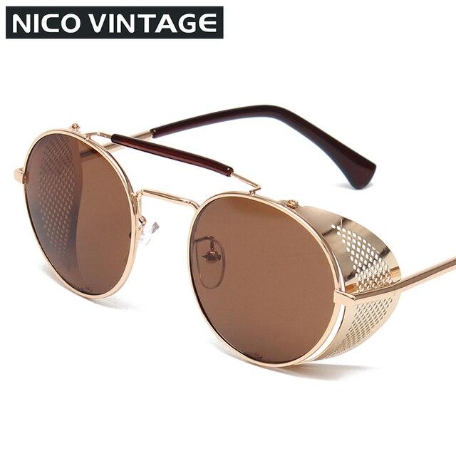 Super Cool Steampunk Sunglasses Men Women Round Metal Thick Frame ...