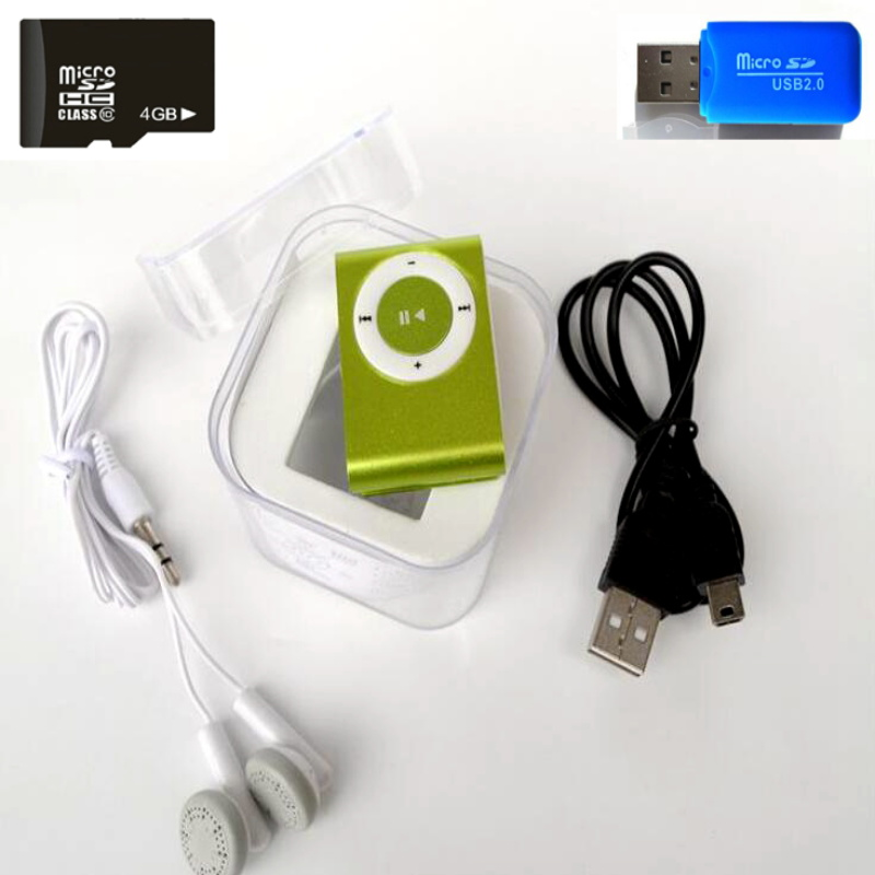 4GB Memory Card BOX Mp3 Player Mini Mp3 Mususic Player Micro TF Card Slot USB MP3 Sport Player USB Port With Earphone HeadphoneI