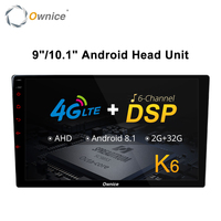 Ownice K6 8 Core Android Universal 2 Din Car Radio 9 10.1 Auto Audio Player Vedio GPS DSP Support 4G LTE SIM Card AHD Camera