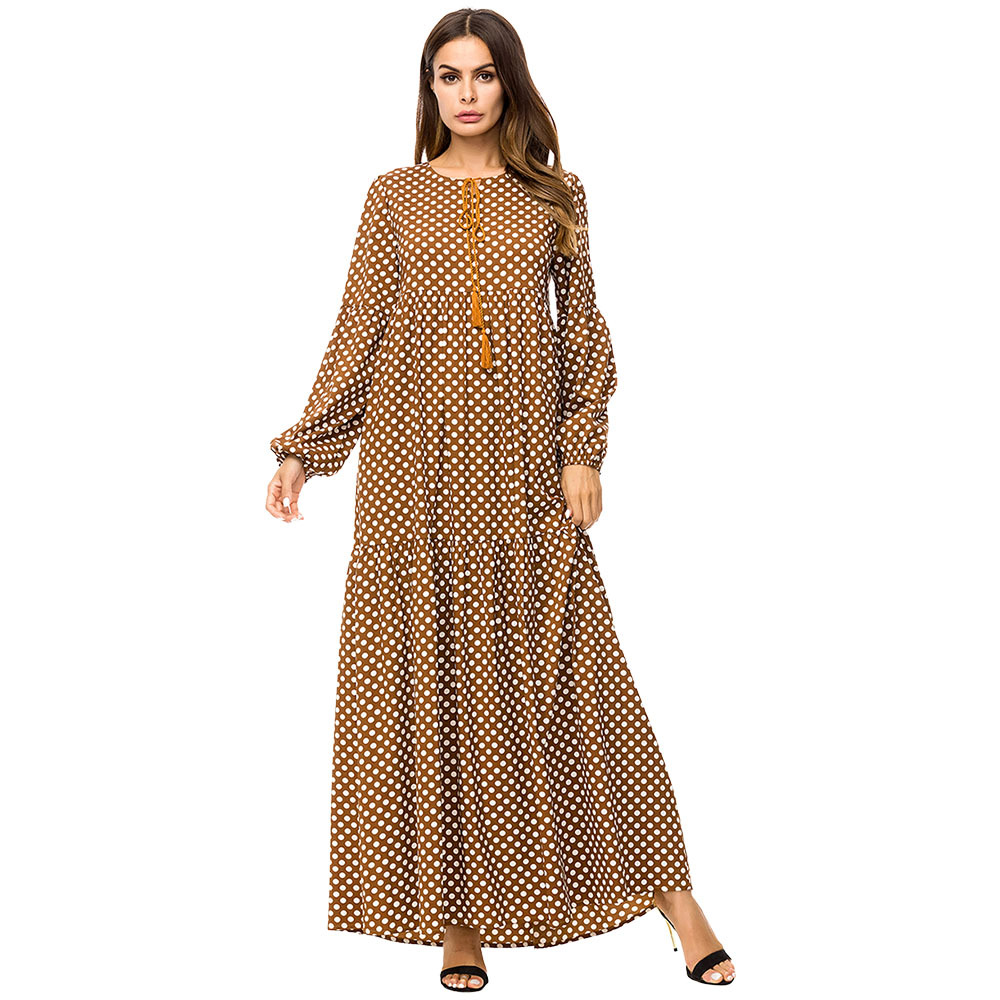 US $23.5 50% OFF|Brown Tassel Tie Big Swing Dresses 2019 Autumn Winter Plus  Size Women Casual O neck Long Sleeve Polka Dot Maxi Dress-in Dresses from  ...