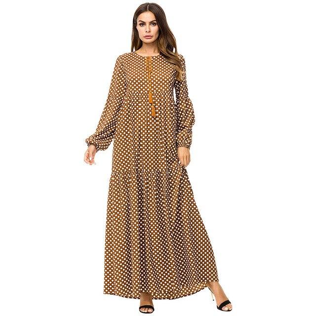 Brown Tassel Tie Big Swing Dresses 2019 Autumn Winter Plus Size Women  Casual O-neck Long Sleeve Polka Dot Maxi Dress 2297cd622ef1