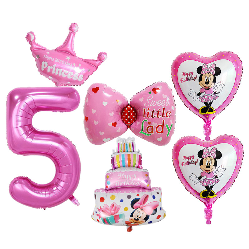 6pcs Kids 5th Birthday Balloons Set Number 5 Foil Balloons
