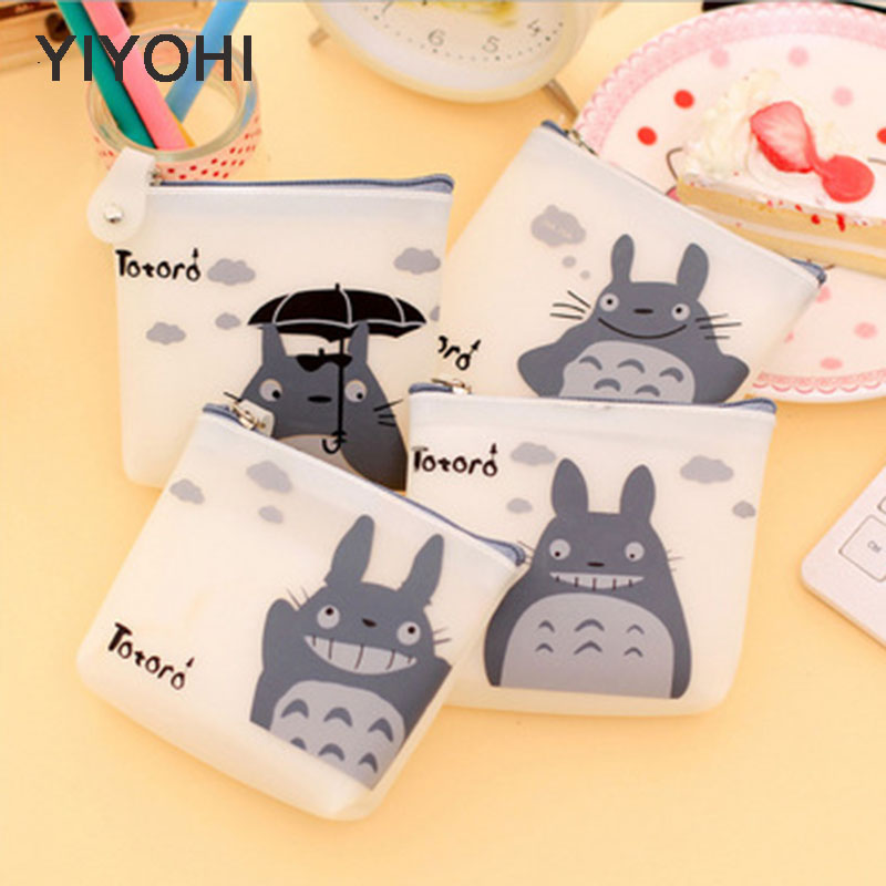 YIYOHI Totoro Jelly Gel Cute Style Novelty Beautiful Gril Zipper Plush Square Coin Purse Kawaii Children Bag Women Mini Wallets