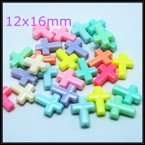 100pcs acrylic beads charms beads accessories mix colors fashion jewelry diy beads jewelry components cross size 12x16mm