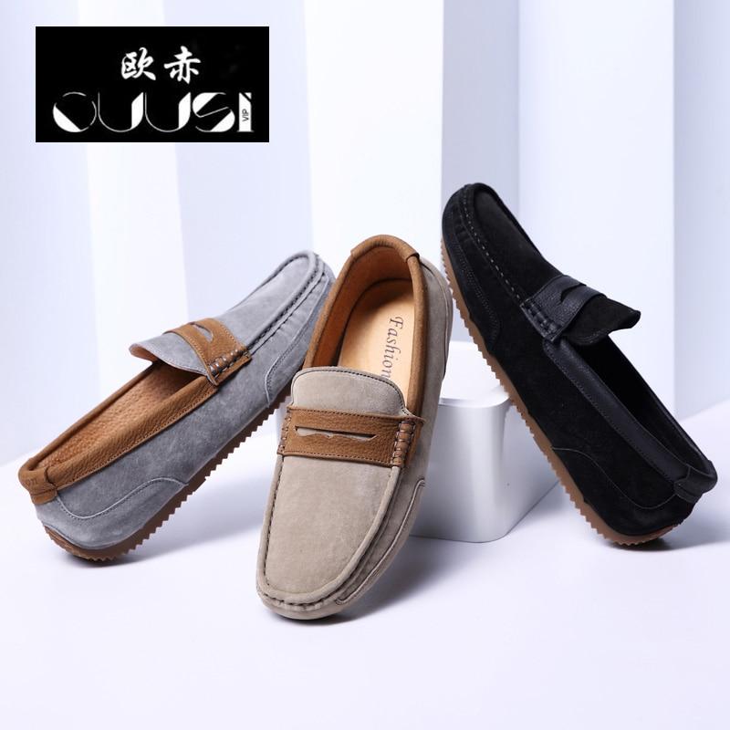 gray Cabeça De Nova black Versão Maré Redonda Selvagem Coreana Primavera Couro Pé Um Do Inglaterra Casuais 2019 Preguiçoso Homens Sapatos Khaki Ervilhas Dos XAn4qY1q