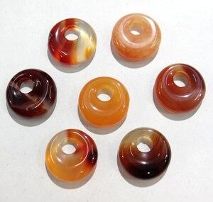Image 2 - 15 stücke 18mm Natürliche Stein Achate Kristall Türkisen Verkrustete gogo donut anhänger für DIY schmuck machen halskette ohrringe zubehör