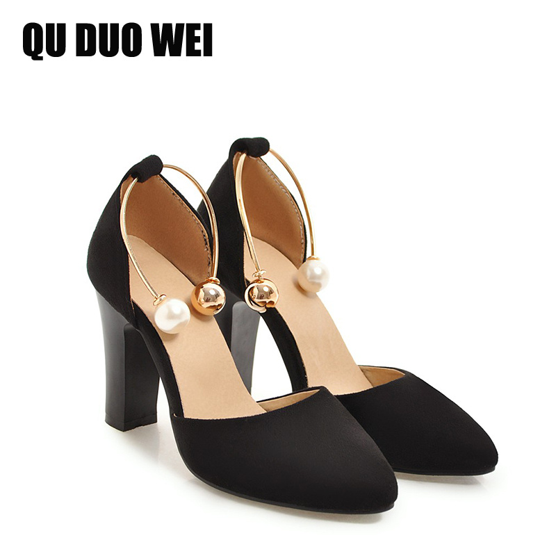 2018 Spring Summer Suede Leather Women Sandals Pointed Toe High Heels Shoes Square Heels Women Pumps Fashion Pearl Sexy Shoes new fashion woman flats spring summer women shoes top quality strappy women sandals suede pointed toe gladiator ballet pumps