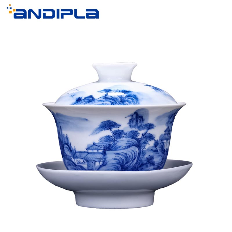 200ml Boutique Jingdezhen Blue and White Porcelain Landscape Gaiwan Tea Maker Chinese Kung Fu Tea Set Bowl Master Teacup Teapot