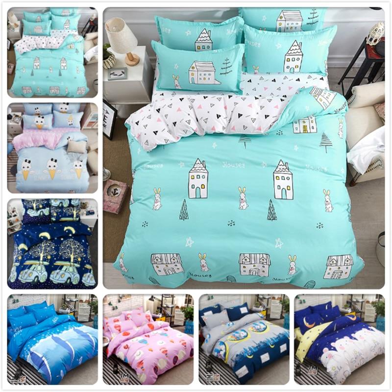 Creative Kids Bed Linen 3/4 pcs pieces Bedding Set Full King Queen Twin Size Duvet Cover 4/6 feet Bedsheet 1.5m 1.8m 2m Bedlinen