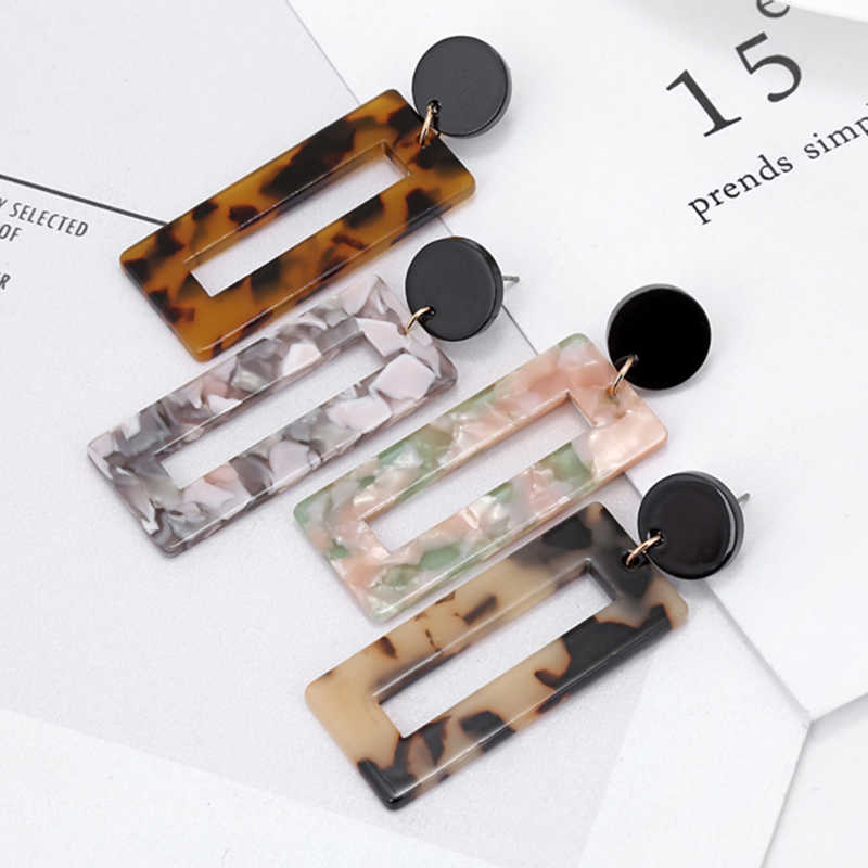 New Fashion Vintage Acrylic Square Stud Earrings For Women Punk Tortoiseshell Pendientes Jewelry Accessories Sieraden AE193