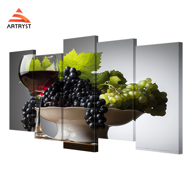 5 panel modular wall red wine glass grape posters HD print on canvas - Home Decor