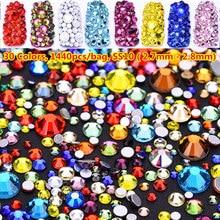 1440pcs/bag 30 Colors Non Hotfix Rhinestone ss10 (2.7mm-2.8mm) Flat back Nail Rhinestones Strass Crystal ab Glass for Bags Dress