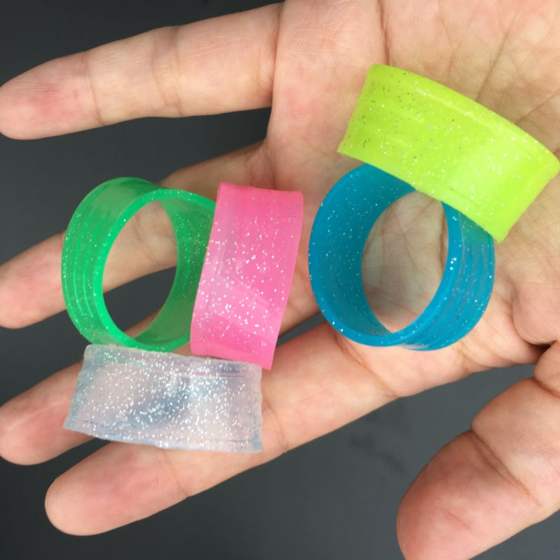 5 Pcs Tennis Racket Handles's Silicone Ring Fluorescence Color Fixed Tennis Overgrips Random Colors