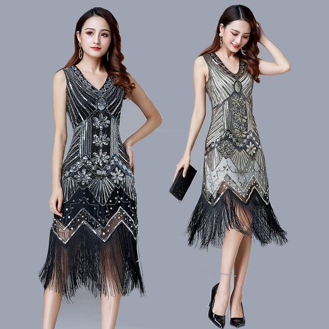 1920s Vintage Flapper Great Gatsby Party Dress V-Neck Sleeveless Sequin Beaded style Style Tassel Flapper Vestidos Feminina 1920 1