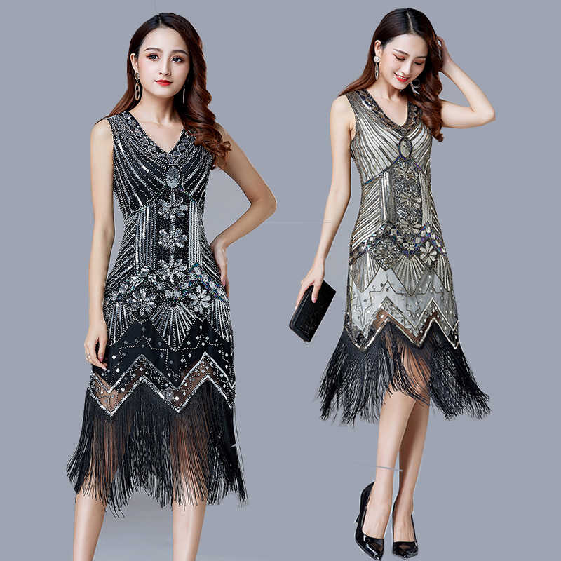 1920s Vintage Flapper Great Gatsby Party Dress V-Neck Sleeveless Sequin Beaded style Style Tassel Flapper Vestidos Feminina 1920